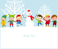 Happy Kids And Snowman Royalty Free Stock Photography