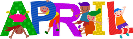 Happy Kids April Text. Happy cartoon smiling children climbing over letters of the alphabet that spell out the word APRIL Royalty Free Stock Images