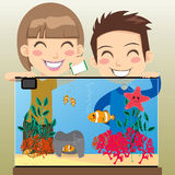 Happy Kids Aquarium Royalty Free Stock Image