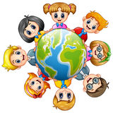 Happy kids around the earth. Illustration of Happy kids around the earth Stock Image