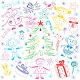 Happy Kids Around Fir Tree with Gifts and Candies. Colorful Funny Children`s Drawings of Winter Holiday`s Symbols. Perfect for Festive Design.Vector royalty free illustration