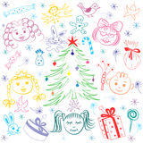 Happy Kids Around Fir Tree with Gifts and Candies. Colorful Funny Children`s Drawings of Winter Holiday`s Symbols. Perfect for Festive Design.Vector Royalty Free Stock Photo