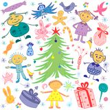 Happy Kids Around Fir Tree with Gifts and Candies. Colorful Funny Children`s Drawings of Winter Holidays Symbols. Vector Illustration Royalty Free Stock Image