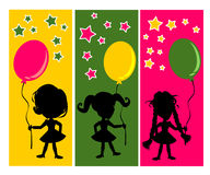 Happy kids and balloons. Happy kids are playing with balloons colorful vector Stock Images