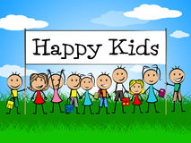 Happy Kids Banner Represents Jubilant Happiness And Child Stock Image