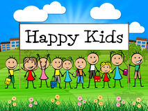 Happy Kids Banner Shows Childhood Happiness And Toddlers Royalty Free Stock Images