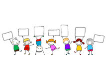 Happy kids with banners. Group of happy kids with banners Royalty Free Stock Photo