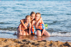 Happy kids on the beach Stock Photography