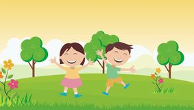 Happy Kids with beautiful landscape. Two Happy Kids in the garden with beautiful landscape Stock Images