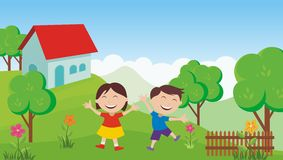 Happy Kids with beautiful landscape. Two Happy Kids in the garden with home and beautiful landscape Royalty Free Stock Image