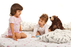 Happy kids in bed Royalty Free Stock Photography