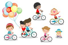 Happy kids on bicycles, Child riding bike,Kids riding bikes, Child riding bike, kids on bicycle vector on white background,. Illustration of a group of kids royalty free illustration