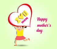Happy kids with big heart for mothers day card Stock Photos