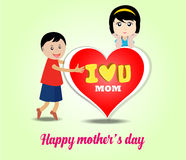 Happy kids with big heart for mothers day card Royalty Free Stock Photos