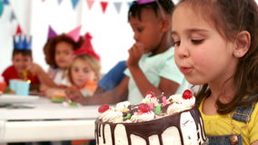 Happy kids at a birthday party stock footage