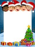 Happy kids blank vertical frame xmas tree Stock Images