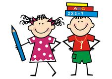 Happy kids and books and crayon. Happy kids with books and crayon. Boy and girl. Smile face, sketch. Vector icon Royalty Free Stock Images