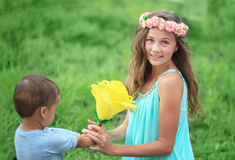 Happy kids, brothers and sister, laughing teenager boy Royalty Free Stock Image