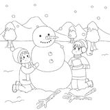 Happy Kids Building a Snowman. Coloring Page Cartoon Vector. Two happy kids building snowman on snowy winter day. Winter holiday, printable coloring page for stock illustration