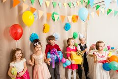 Children are happy to be on the b-day party royalty free stock photos