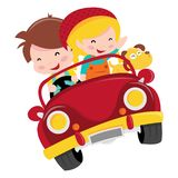 Happy Kids Car Ride. A cartoon vector illustration of two happy kids, boy and girl, riding a red convertible car with their pet dog stock illustration
