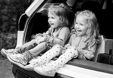Happy kids in the car Royalty Free Stock Image