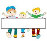 Happy kids cartoon with blank banner Stock Images