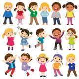 Happy kids cartoon collection. Multicultural children in different positions isolated on white background. Illustration of happy kids cartoon collection
