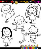 Happy kids cartoon coloring book Royalty Free Stock Photos