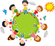 Happy kids cartoon Royalty Free Stock Images