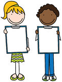 Happy Kids. Cartoon illustration of a girl and a boy holding clipboards Royalty Free Stock Photography