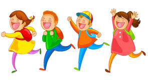 Happy kids. Cartoon school kids running happily stock illustration