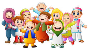 Happy kids celebrate for Eid Mubarak. Illustration of Happy kids celebrate for Eid Mubarak Royalty Free Stock Photography