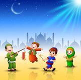 Happy kids celebrate for eid mubarak with mosque background. Illustration of Happy kids celebrate for eid mubarak with mosque background Stock Image