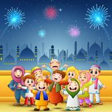 Happy kids celebrate for eid mubarak with mosque and fireworks background. Illustration of Happy kids celebrate for eid mubarak with mosque and fireworks Stock Image