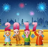 Happy kids celebrate islamic new year with mosque and fireworks background Royalty Free Stock Photo