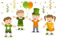Happy Kids Celebrate St. Patrick`s Day Stock Images