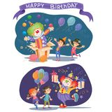 Birthday background with happy kids and clown. Happy kids celebrating birthday. Funny clown makes a surprise juggles with balls and gives children the gifts. Two Vector Illustration