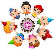 Happy kids celebrating birthday. Illustration of Happy kids celebrating birthday Royalty Free Stock Photos