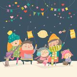 Happy kids celebrating Saint Martins day. Vector greeting card Stock Photo