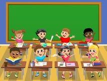 Happy kids children desk school blank blackboard Stock Photography