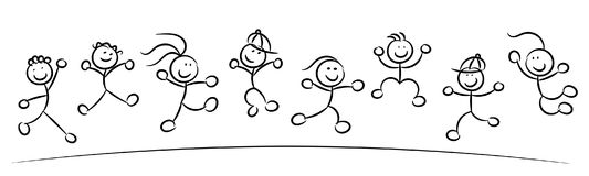 Happy kids or children jumping sketch isolated vector illustration
