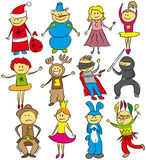 Happy kids on christmas. Vector happy kids on christmas in costumes Royalty Free Stock Images