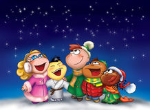 Happy kids singing at Christmas. Five happy children from different countries are singing in Christmas night. Digital illustration Stock Photo