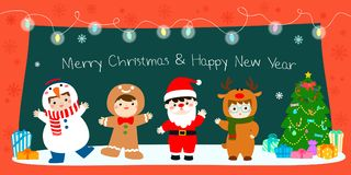 Happy kids in Christmas Costumes decorate with blinking light Royalty Free Stock Images