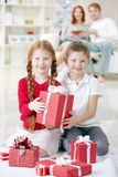 Happy kids at Christmas Royalty Free Stock Photos