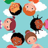 Happy kids in a circle. Stock Vector cartoon illustration of happy kids, boys and girls in the circle Stock Photos