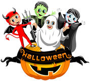 Happy kids costume at Halloween on big pumpkin isolated Royalty Free Stock Photos