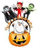 Happy kids costume halloween pumpkin bucket isolated Stock Photos