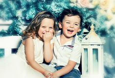 Happy kids. Couple of funny happy kids stock image